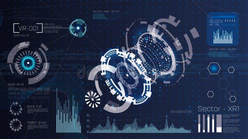 技术未来派现代用户界面圈子形状 3d HUD元素 未来派科学幻想小说摘要集合 r 向量例证
