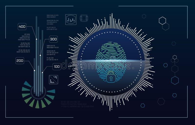 技术未来派现代用户界面圈子形状 Hud?? 未来派科学幻想小说摘要集合 未来派蓝色 库存例证