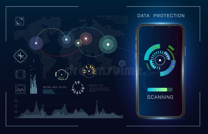 技术未来派现代用户界面圈子形状 Hud?? 未来派科学幻想小说摘要集合 未来派蓝色 向量例证