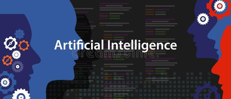 技术未来派顶头人编程的人工智能AI概念 向量例证