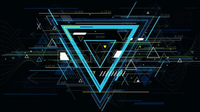 技术未来派抽象背景,五颜六色的三角 库存例证