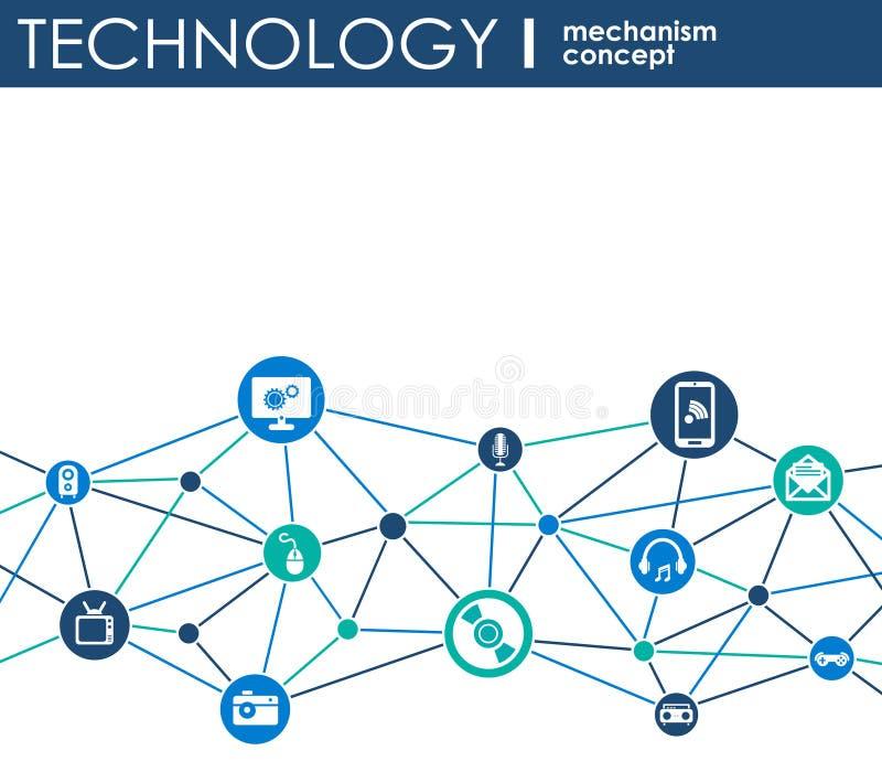 技术机制概念 与联合齿轮和象数字式的,战略,互联网,网络, connec的抽象背景 皇族释放例证