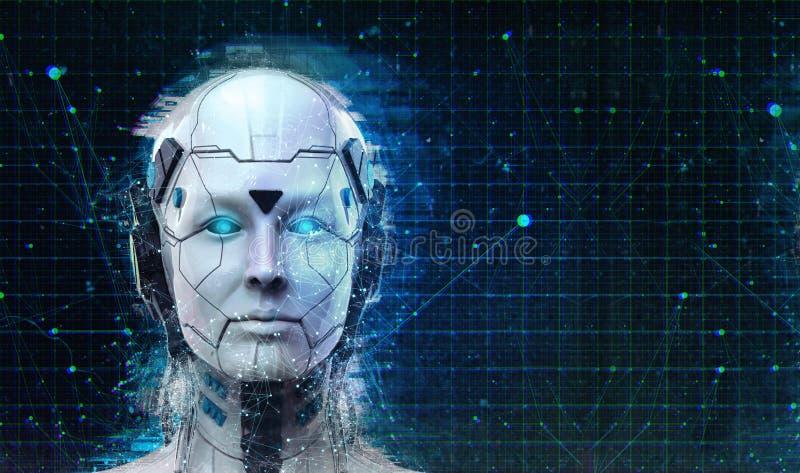 技术机器人科学幻想小说妇女靠机械装置维持生命的人机器人背景-类人动物人工智能墙纸3D回报 库存例证