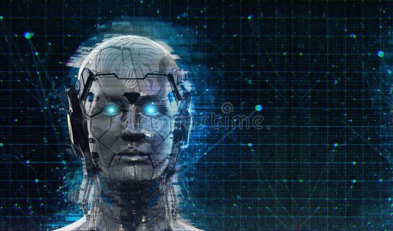 技术机器人科学幻想小说妇女靠机械装置维持生命的人机器人背景-类人动物人工智能墙纸3D回报 向量例证