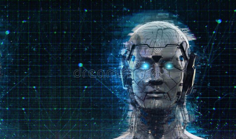 技术机器人科学幻想小说妇女靠机械装置维持生命的人机器人背景-类人动物人工智能墙纸3D回报 皇族释放例证