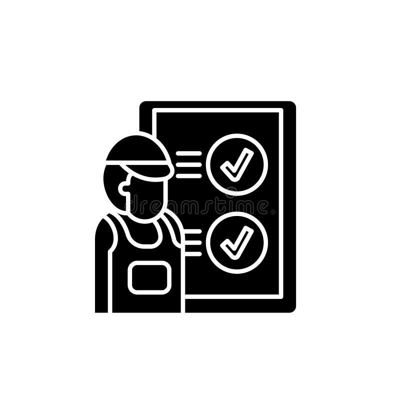 技术检查黑象,在被隔绝的背景的传染媒介标志 技术检查概念标志,例证 皇族释放例证