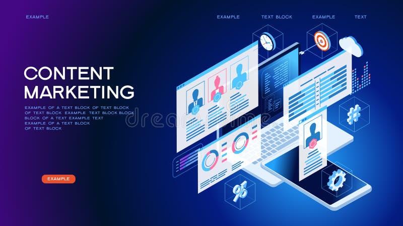 技术概念内容销售方针网横幅 向量例证