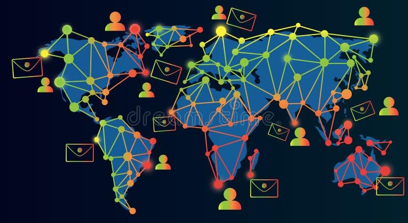 技术电子邮件营销和通讯网络 库存例证