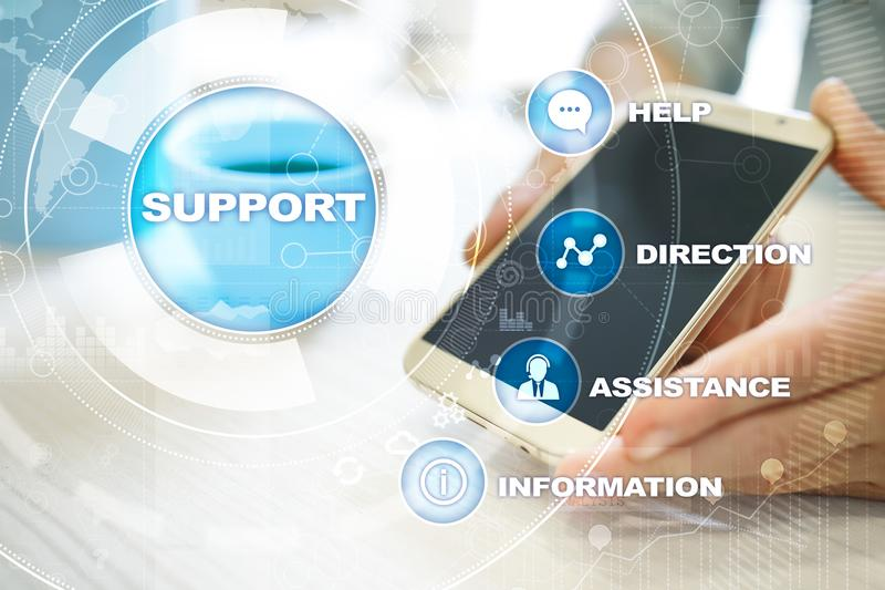 技术的技术支持 顾客帮助 企业和技术概念 免版税库存图片