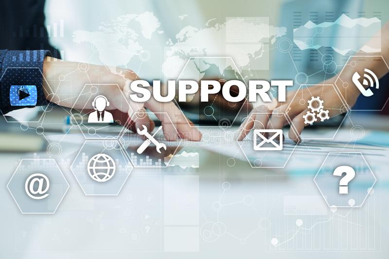 技术的技术支持 顾客帮助 企业和技术概念 库存图片