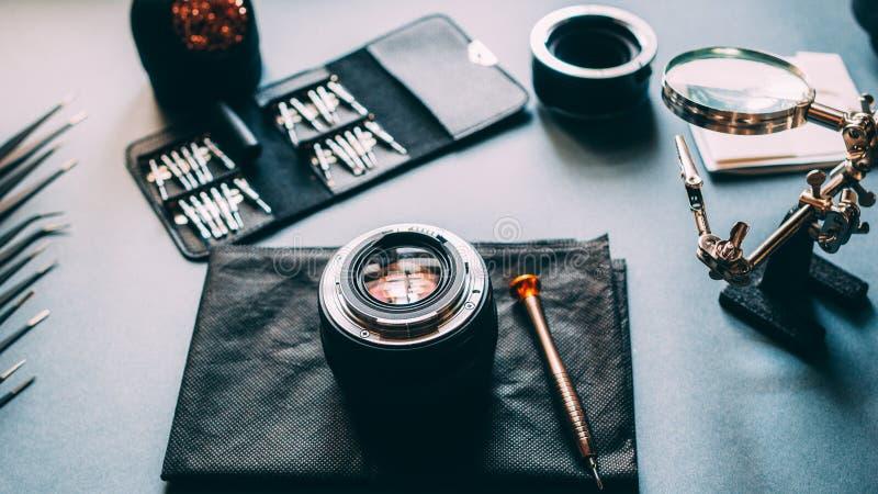 技术维护支持照片镜头工具 库存图片