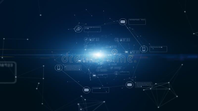 技术网络和数据连接 安全数据网和个人信息 E 库存例证