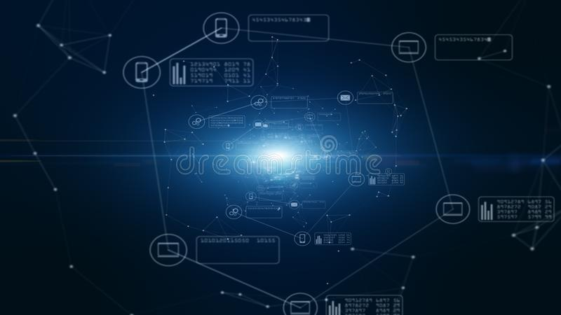 技术网络和数据连接 安全数据网和个人信息 E 皇族释放例证