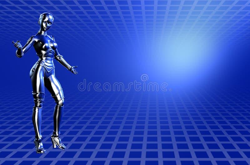 技术背景蓝色裁减路线的机器人 皇族释放例证
