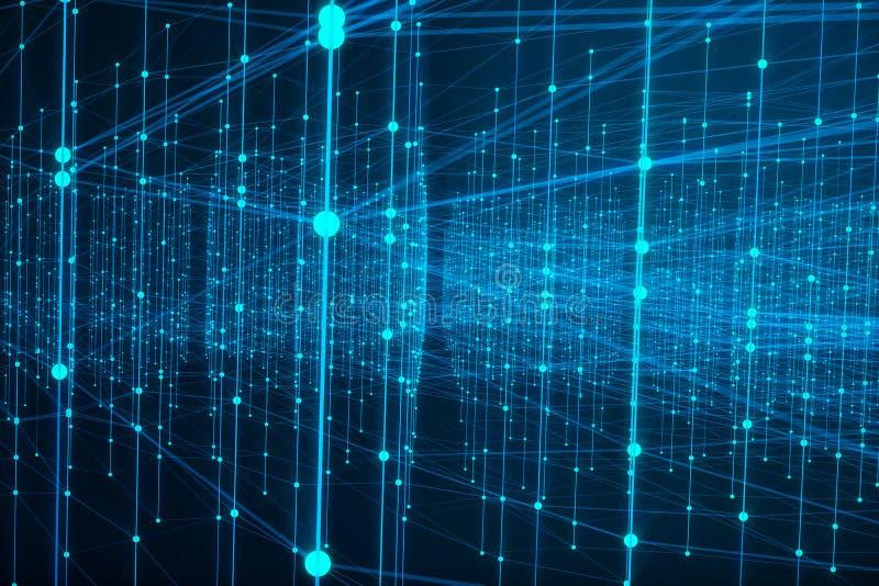 技术连接未来派形状,蓝色小点网络,抽象背景,蓝色背景,网络的概念 向量例证