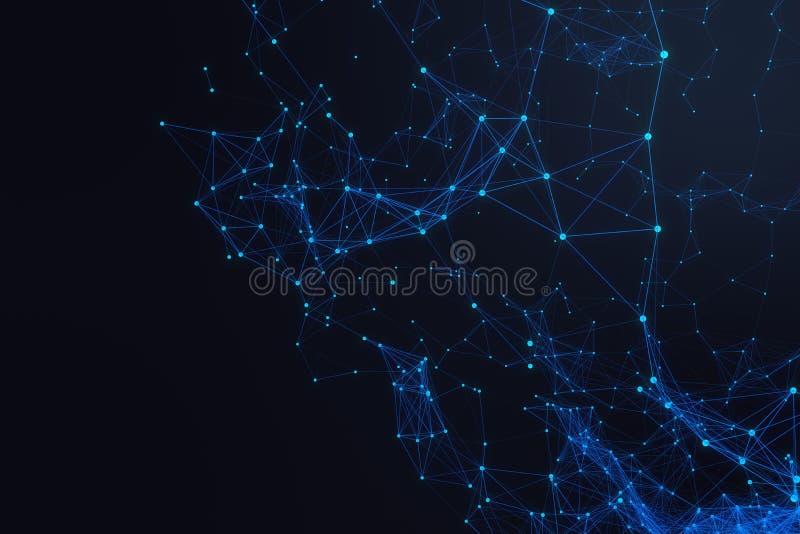 技术连接未来派形状,蓝色小点网络,抽象背景,蓝色背景3D翻译 向量例证