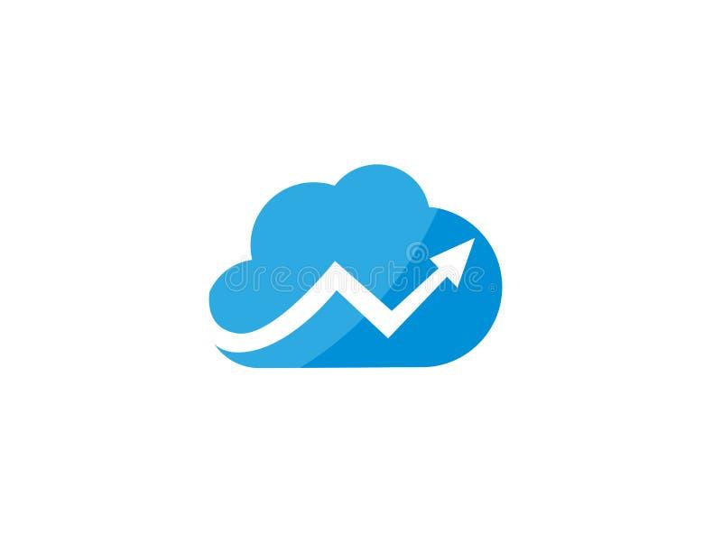 技术连接用横跨云彩标志的箭头商标的 库存例证