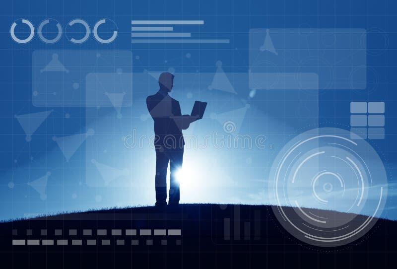 技术连接网上网络媒介概念 皇族释放例证