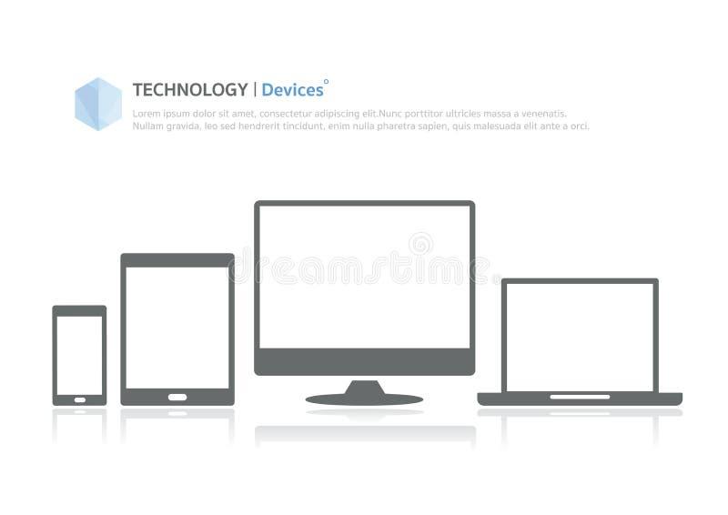 技术通信设备平的象 库存例证