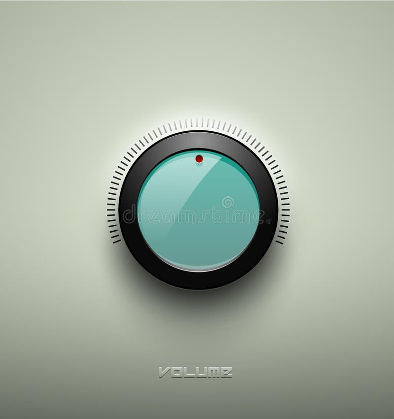 技术音乐绿色玻璃状按钮象、容量设置、合理的控制旋钮与黑塑料圆环,标度、阴影和光 向量例证