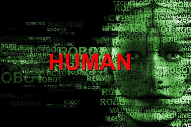 技术,机器,机器人,靠机械装置维持生命的人,计算机 库存例证