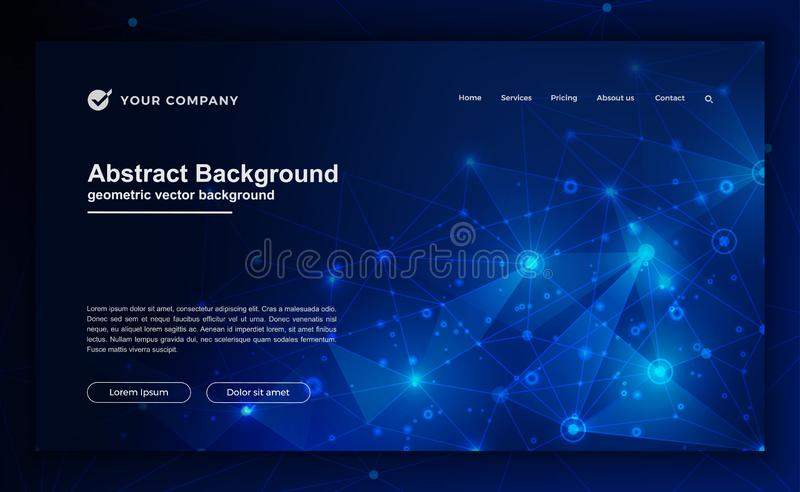 技术,科学,网站设计的未来派背景 摘要,您登陆的页设计的现代背景 库存例证
