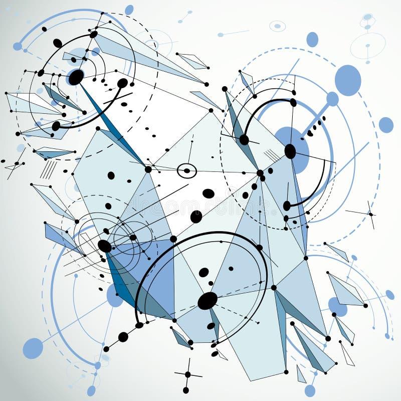 技术3d与低多被拆毁的几何的传染媒介图画 向量例证