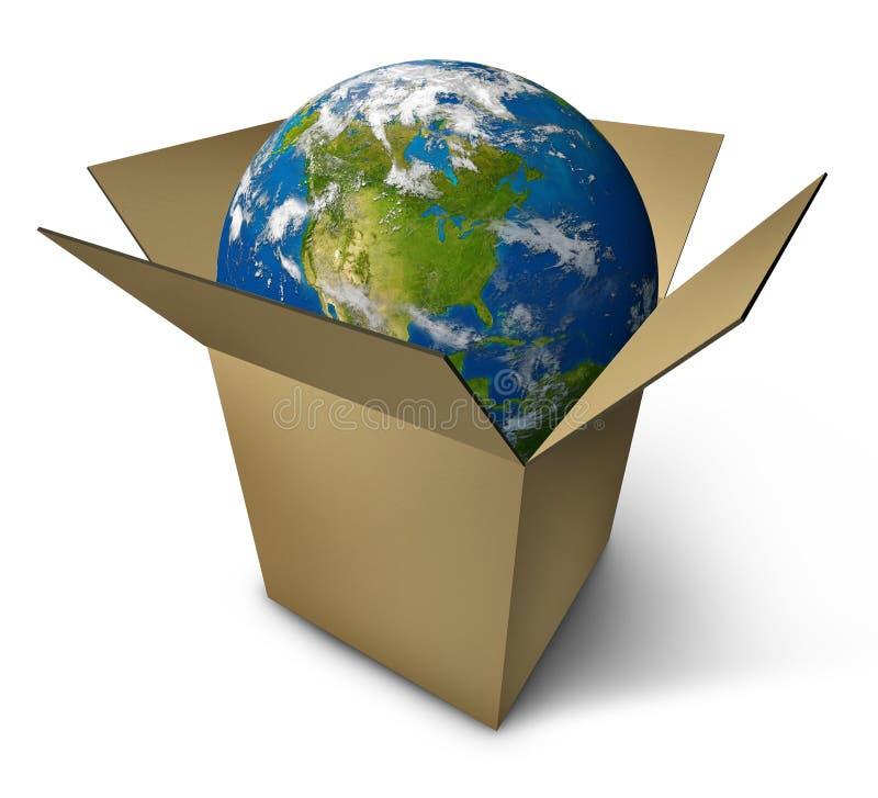 把地球装箱 库存例证