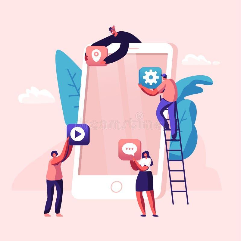 把应用程序象放的商人创造性的队在站立在梯子的巨大的智能手机屏幕上 设计师开发应用 向量例证