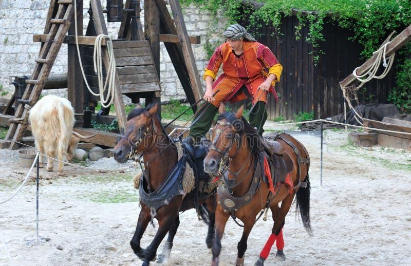 把戏骑马,普罗万传奇  免版税库存照片