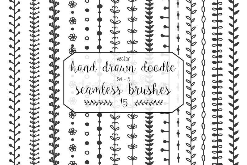 15把手拉的乱画无缝的刷子 库存例证