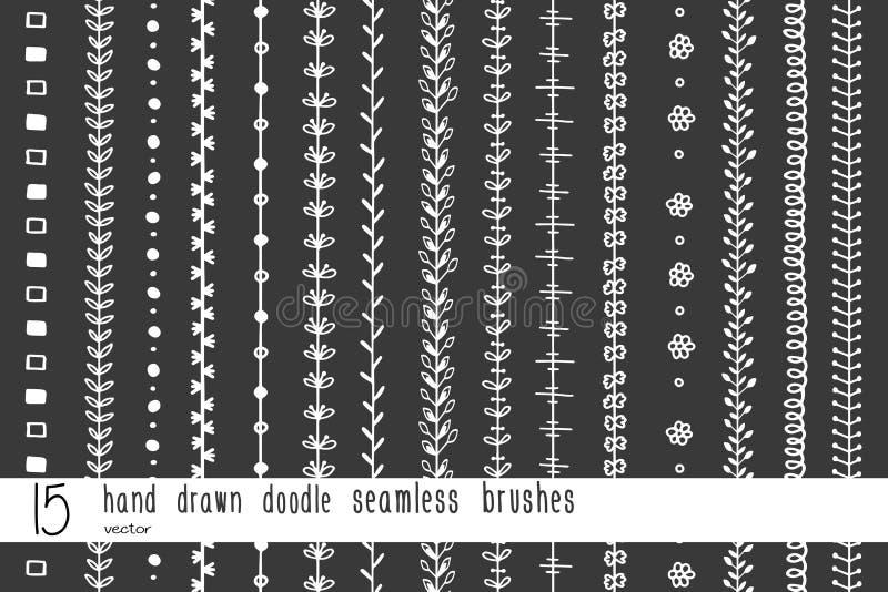 15把手拉的乱画无缝的刷子 向量例证