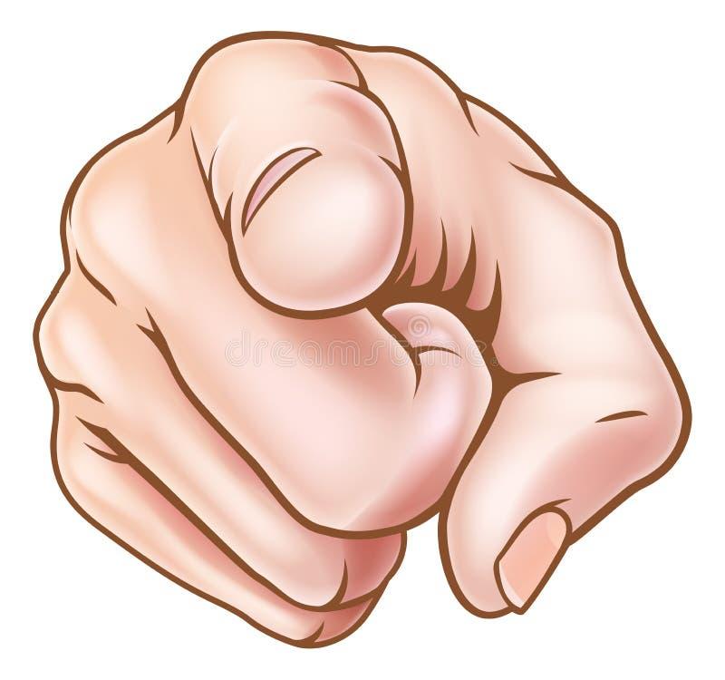 把手指指向的动画片手您 库存例证