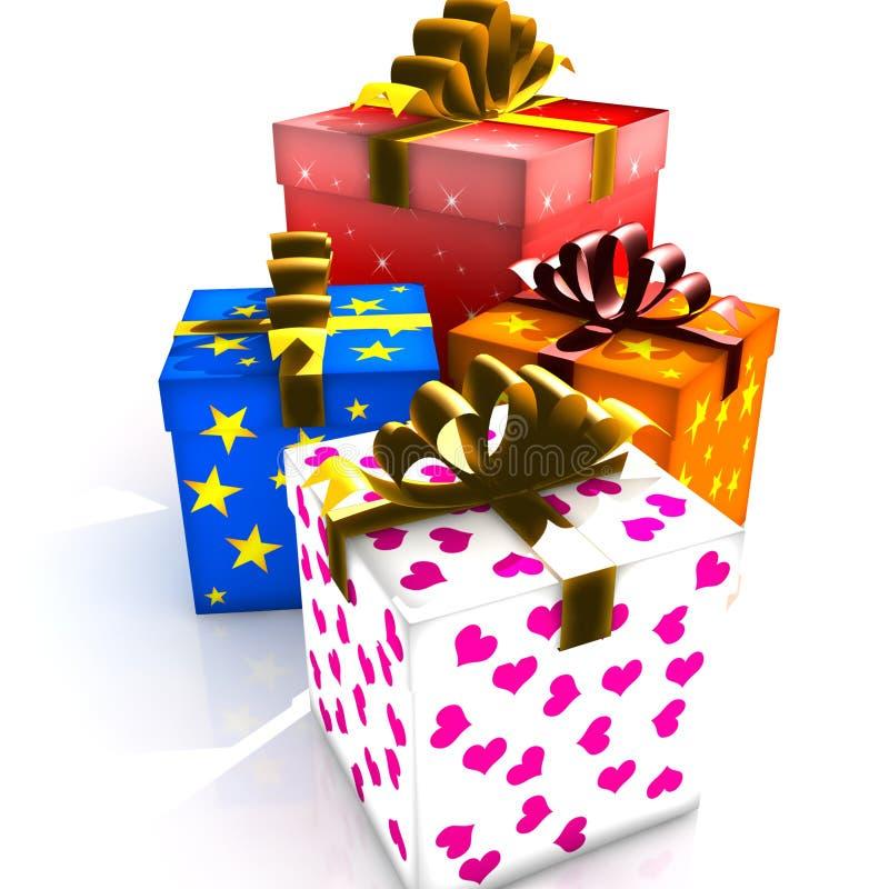 把查出的礼品装箱 向量例证