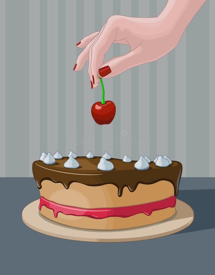 把樱桃放在蛋糕上 向量例证