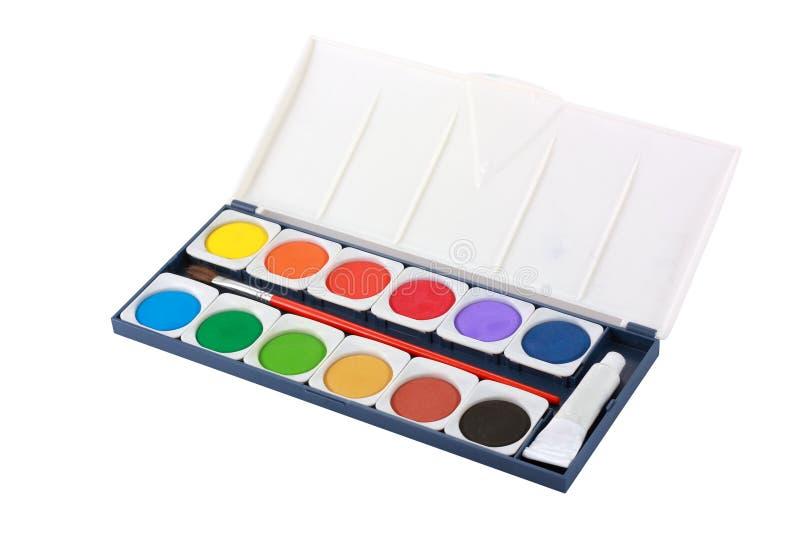 把画笔颜色查出的水装箱 图库摄影