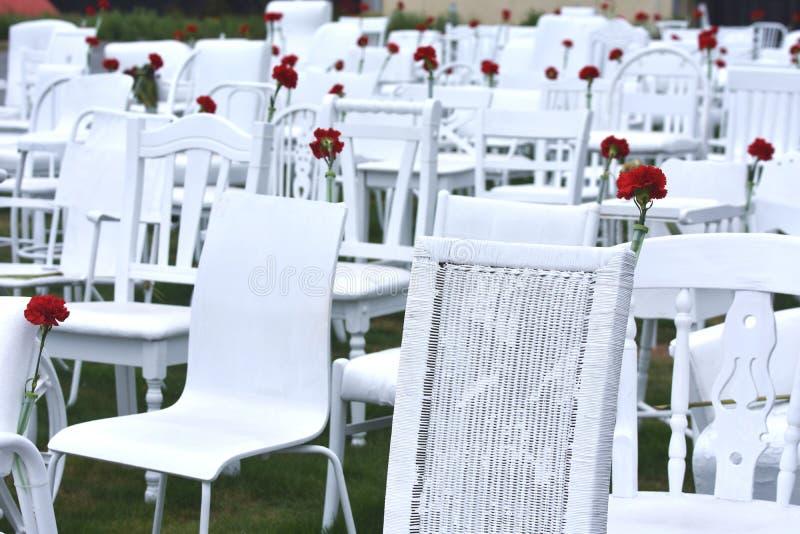 185把空的椅子克赖斯特切奇地震记忆 免版税图库摄影