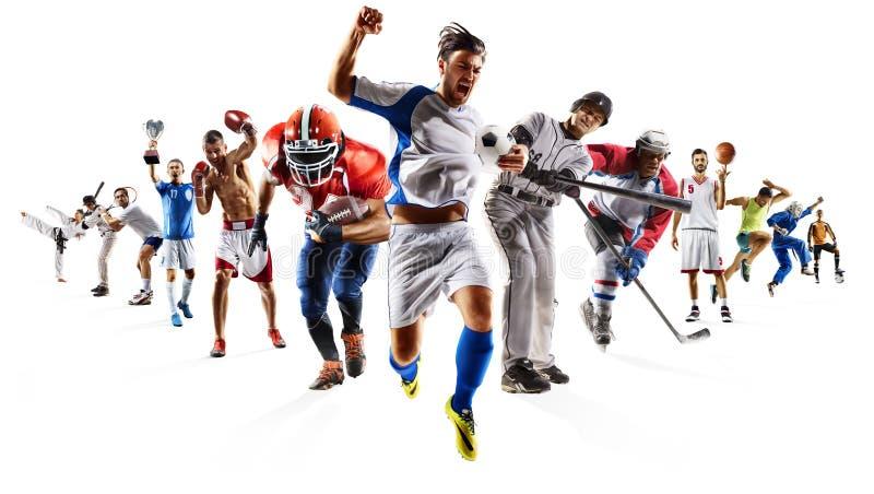 把等装箱的巨大的多体育拼贴画足球篮球橄榄球曲棍球棒球 免版税库存照片