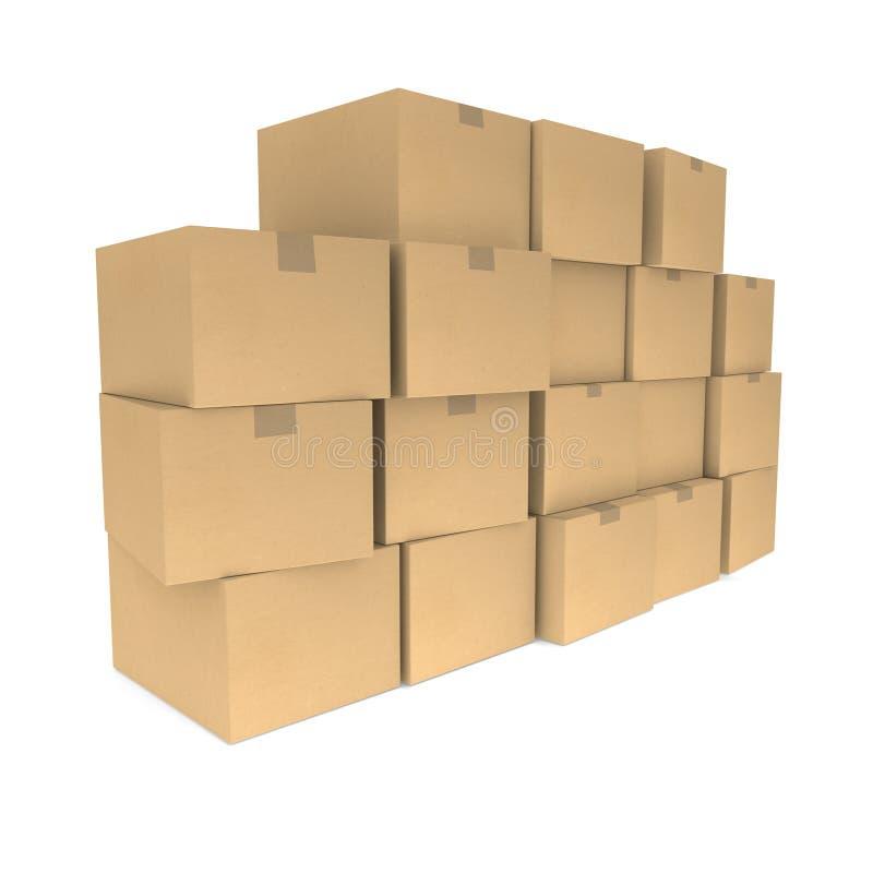 把纸板堆装箱 向量例证