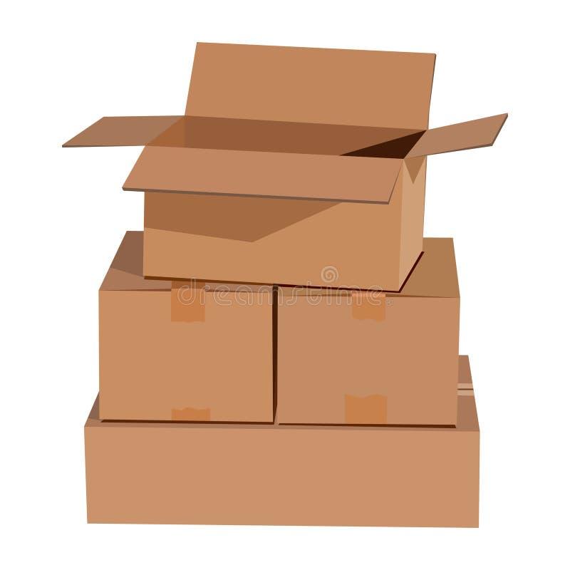 把纸板堆装箱 皇族释放例证