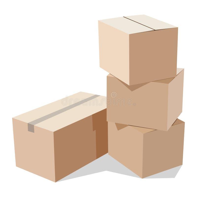 把纸板堆装箱 库存例证