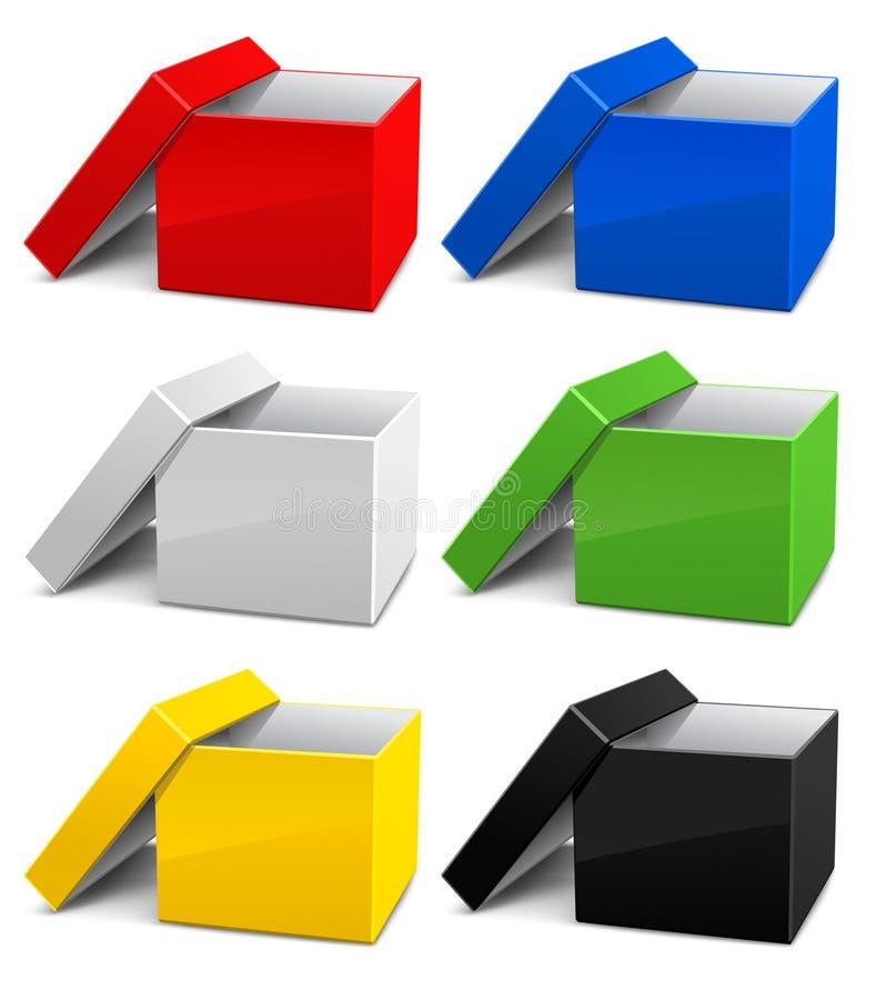 把纸板颜色空的被开张的集装箱 库存例证