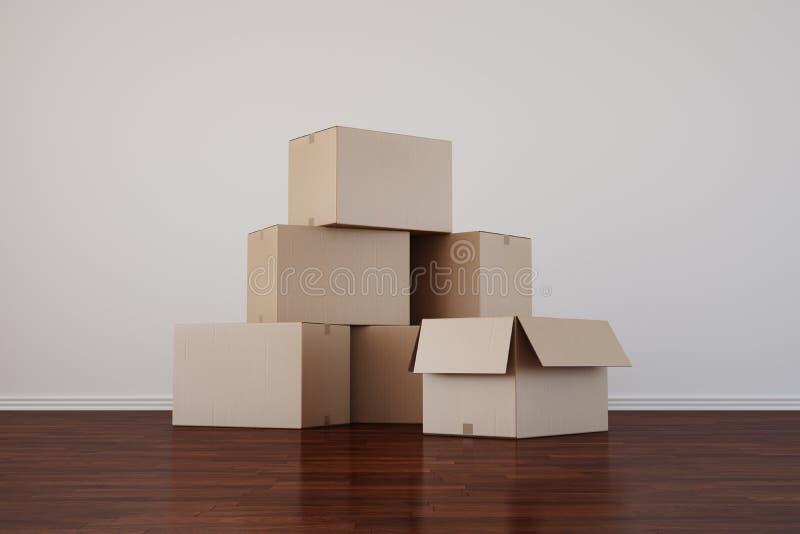 把纸板黑暗的空的楼层空间装箱 向量例证