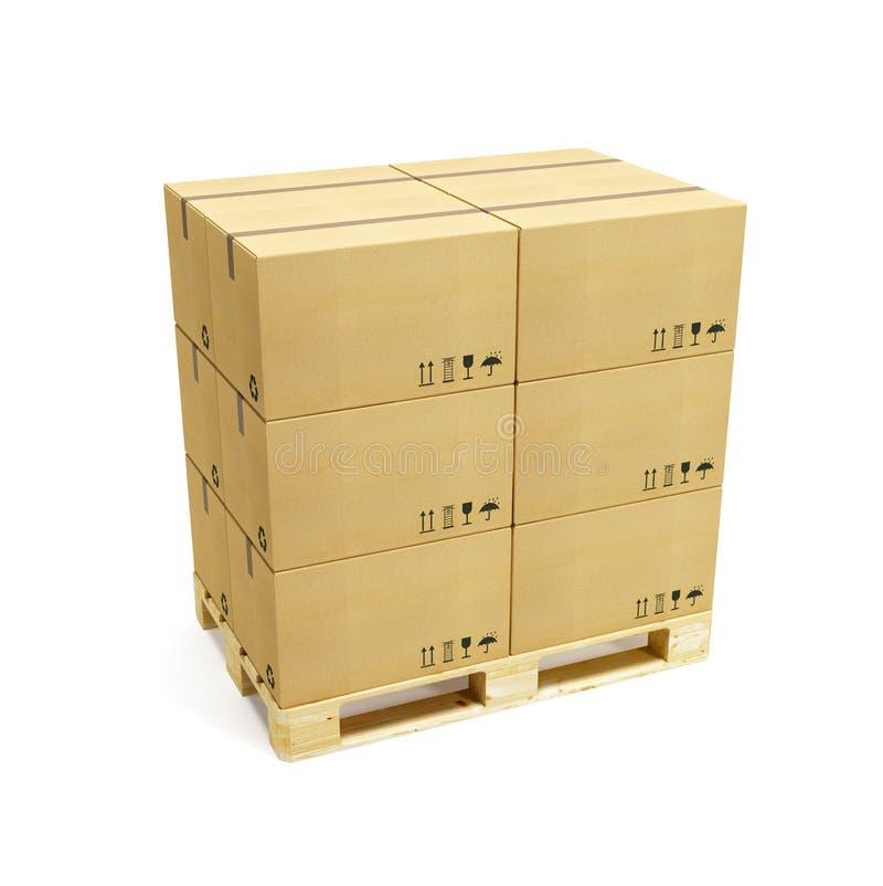 把纸板货盘装箱 向量例证