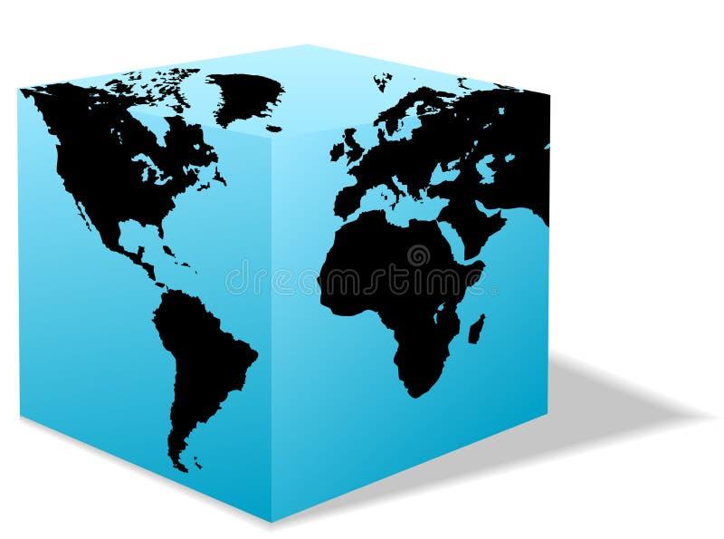 把纸盒地球地球正方形世界装箱 向量例证
