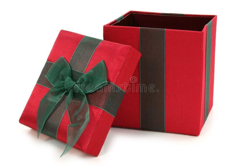 把织品礼品绿色红色装箱 免版税库存照片