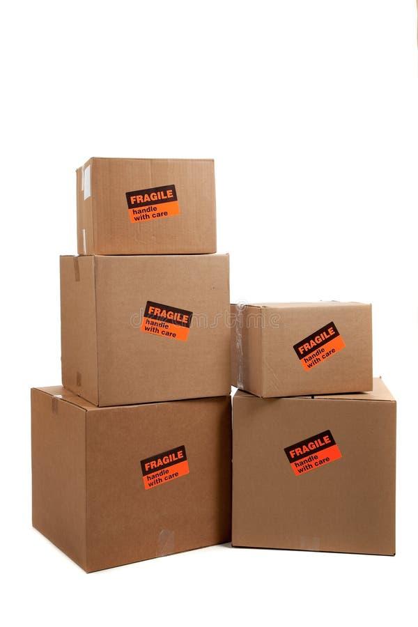 把脆弱的移动贴纸装箱 免版税库存图片