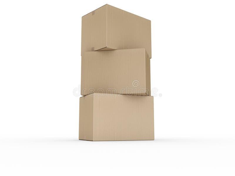 把被堆积的纸板装箱 皇族释放例证
