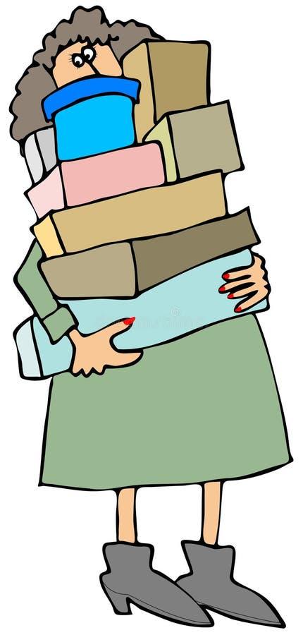 把运载的妇女装箱 库存例证