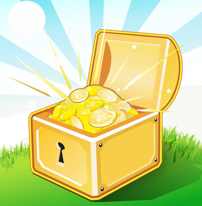 把金子被开张的珍宝装箱 皇族释放例证